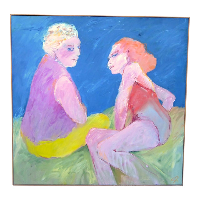 """1970s Vintage Suzanne Peters """"Two Women at the Lake"""" Beach Swimmers Oil on Canvas Painting For Sale"""