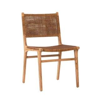 Modern Teak & Wicker Dining Chair For Sale