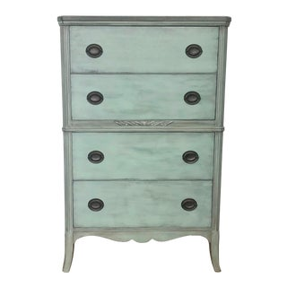 1940s Shabby Chic Mint Green Tall Dresser For Sale
