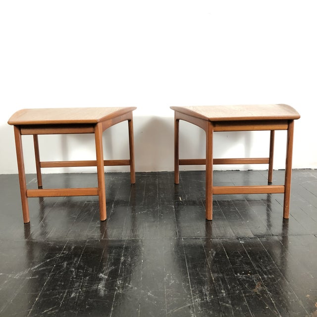 1960s PAIR of Mid Century Modern Teak Side Tables by Folke Ohlsson for Tingstromb. Made in Sweden. Triangular or pie shape...