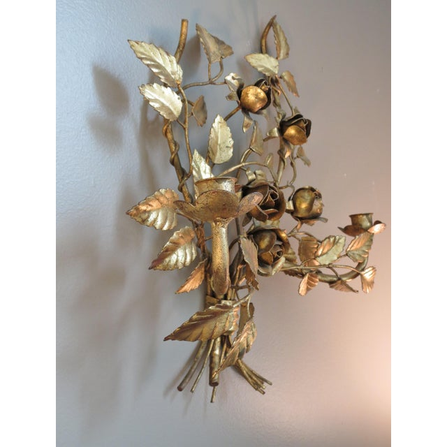Vintage Italian Gilded Tole Wall Sconces - a Pair - Image 8 of 8