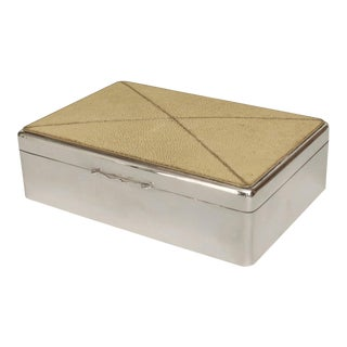 English Art Deco Shagreen and Sterling Silver Box For Sale