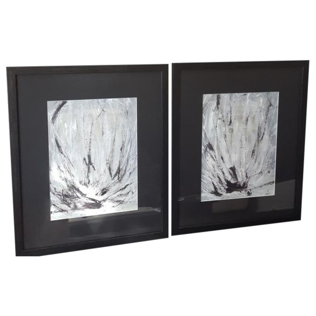"""Lotus Diptych"" Painting by ArtSeya - Pair - Image 1 of 3"