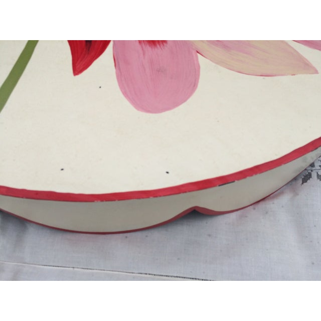 Metal Floral Painted Side Table Cover - Image 6 of 10
