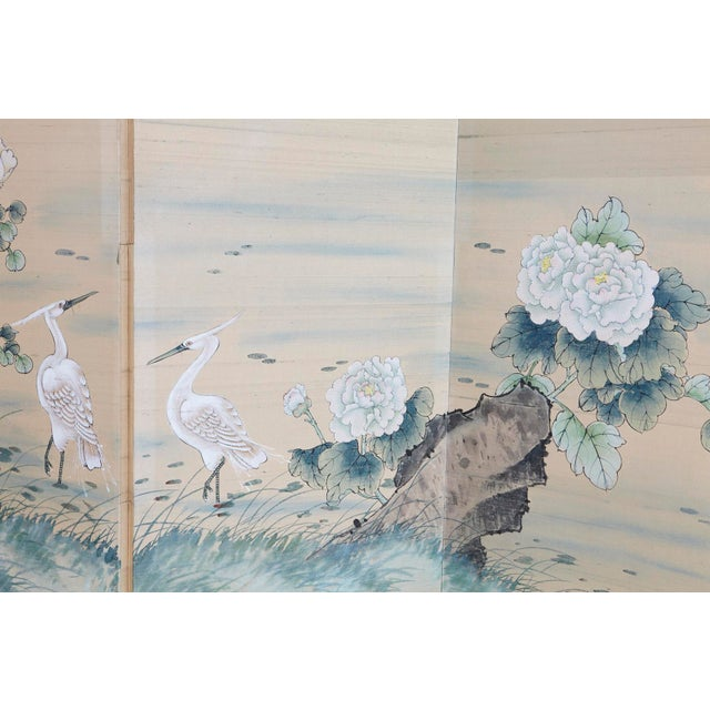 Early 20th Century Japanese Four-Panel Floor Silk Screen Landscape With Herons, Circa 1920s For Sale - Image 5 of 13