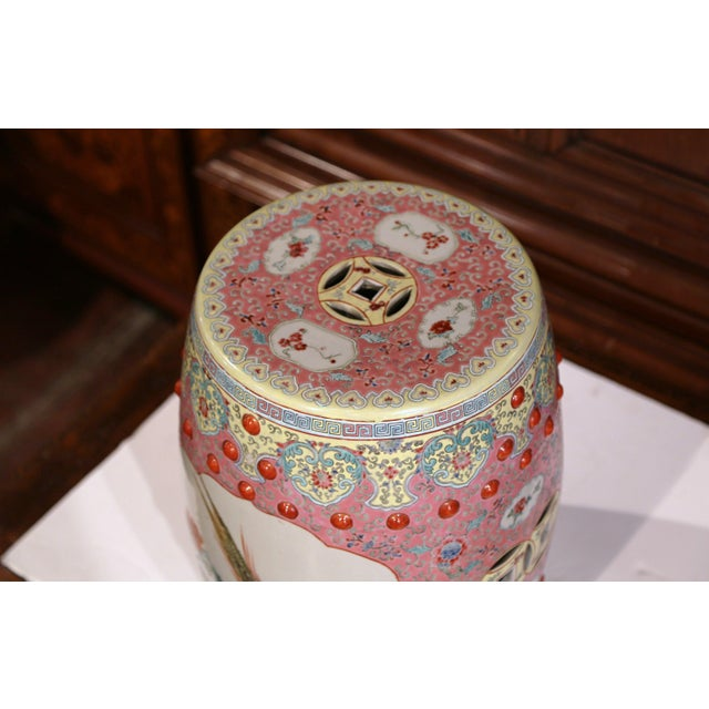 Turquoise Mid-20th Century Asian Turquoise and White Glazed Ceramic Garden Stool For Sale - Image 8 of 10