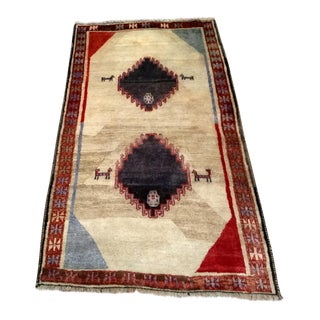 Persian Gabbeh Tribal Wool Carpet - 4′3″ × 6′2″ For Sale
