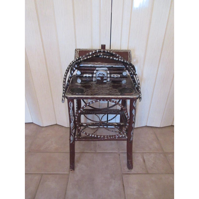 Folk Art Tramp Art Twig Smoking Table For Sale - Image 3 of 11
