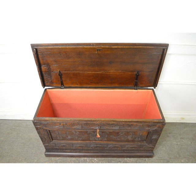Antique 18th Century Oak Lidded Chest Coffer For Sale - Image 10 of 10