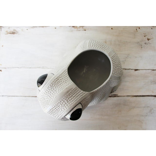 White 1970s Large Vintage Hobnail Frog Planter in the Style of Jean Roger For Sale - Image 8 of 13
