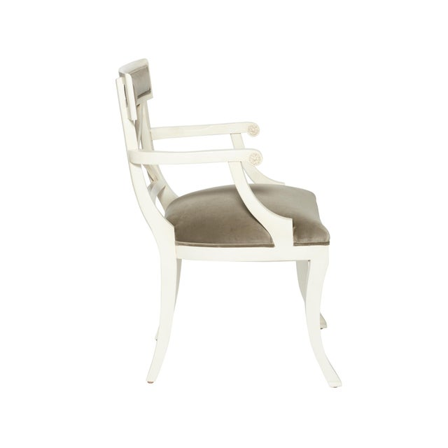 Schumacher Westminster Gainsborough Velvet Grey Hand-Carved Beechwood Armchair For Sale In New York - Image 6 of 9