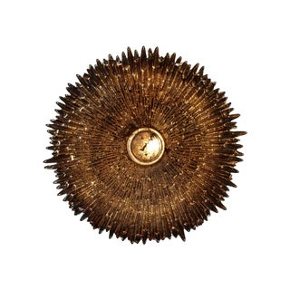 Brown & Gold Leaf Hand Blown Glass Sunburst Bowl