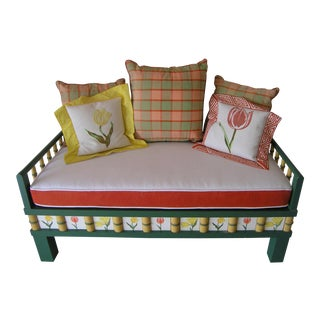 Floral Tile Bamboo Bench & Pillows