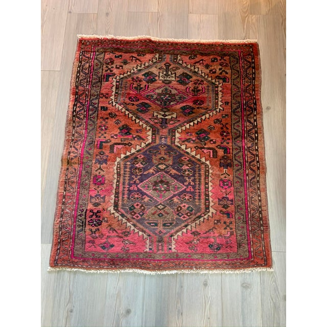 Islamic Vintage Persian Serapi Heriz Area Rug- 3′3″ × 3′8″ For Sale - Image 3 of 8