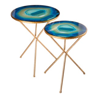 Faux Blue Agate Nesting Tables - A Pair