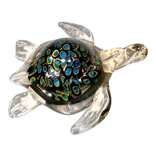 Vintage Murano Art Glass Sea Turtle Figurine Paperweight For Sale