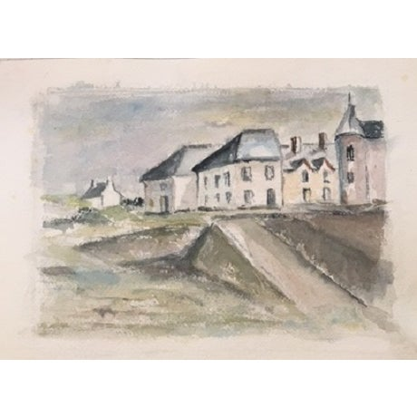 Whimsical antique watercolor of the British landscape, circa 1915, in a soft palette of blues and creams, Purchased as...