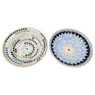 Mid-Century Multi-Color Mosaic Catchalls - A Pair