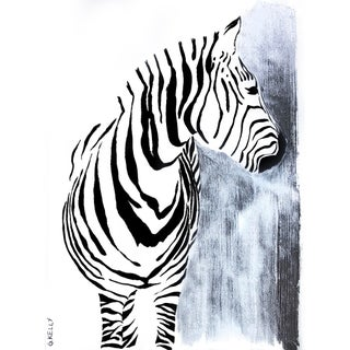 Zebra Silver Leaf Painting by Gretchen Kelly For Sale