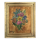 Image of Mini Floral Oil Painting For Sale