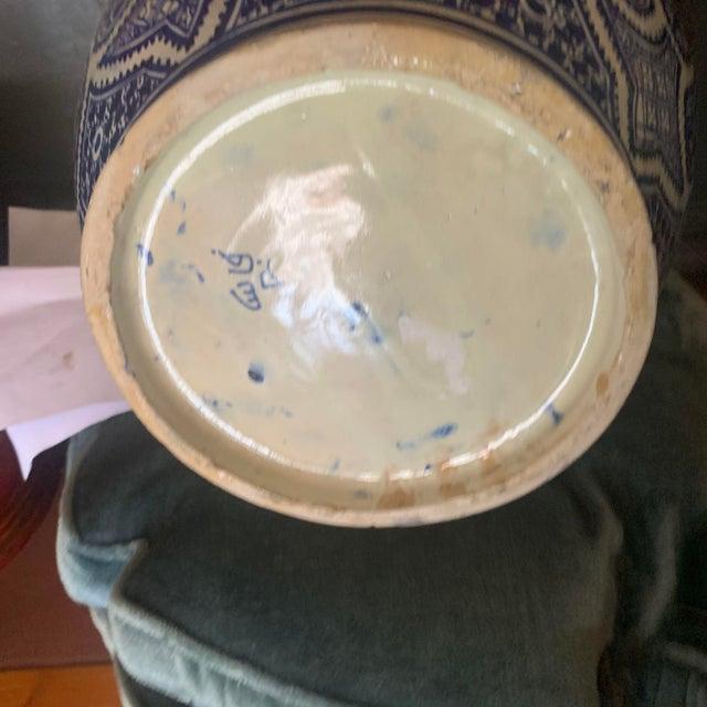 Large Moroccan Hispano-Moorish Blue and White Ceramic Handled Jar For Sale - Image 11 of 13