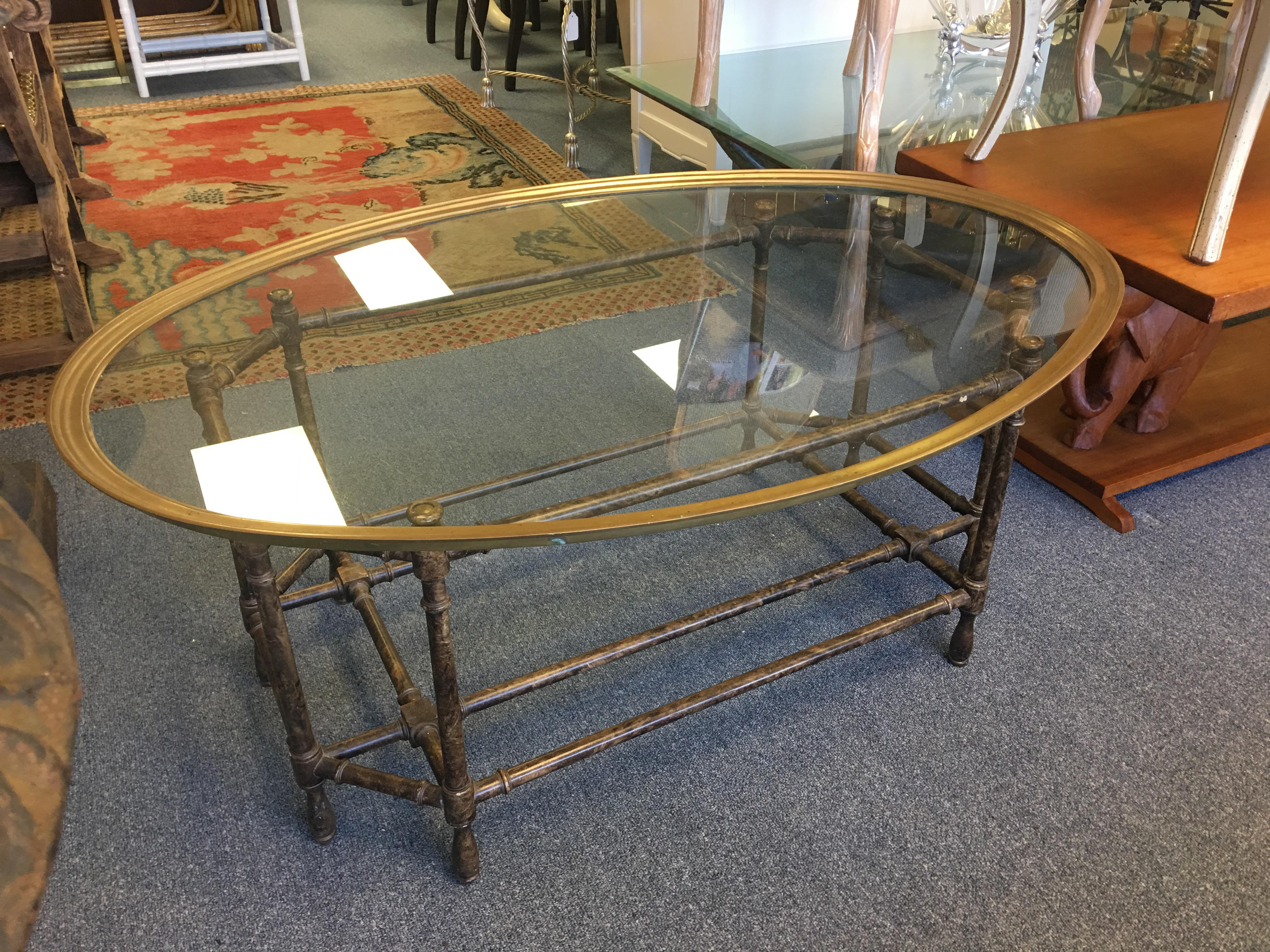 Baker Oval Glass Top Faux Bamboo Coffee Table   Image 2 Of 7
