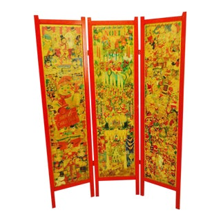 Vintage Victorian Style 3 Panel Christmas Decoupage Folding Screen Room Divider For Sale