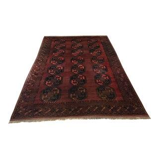 Antique Late 1800's Ersari Serapi Auburn Wool Rug - 9′9″ × 14′5″ For Sale