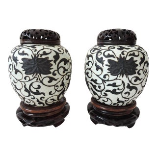 Fine Antique Chinese Peony Porcelain Ginger Jars With Reticulated Wood Stands and Tops - a Pair For Sale