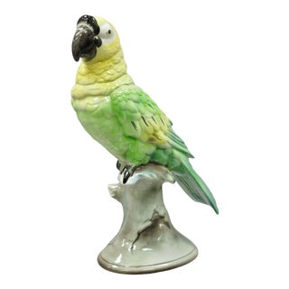 Early 20th Century Antique Goldscheider Glazed Ceramic Porcelain Green Parrot Branch Figurine For Sale