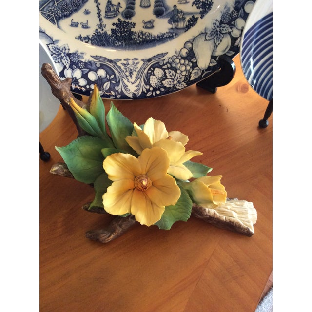 Vintage Capodimonte Flower in Yellow For Sale - Image 10 of 10