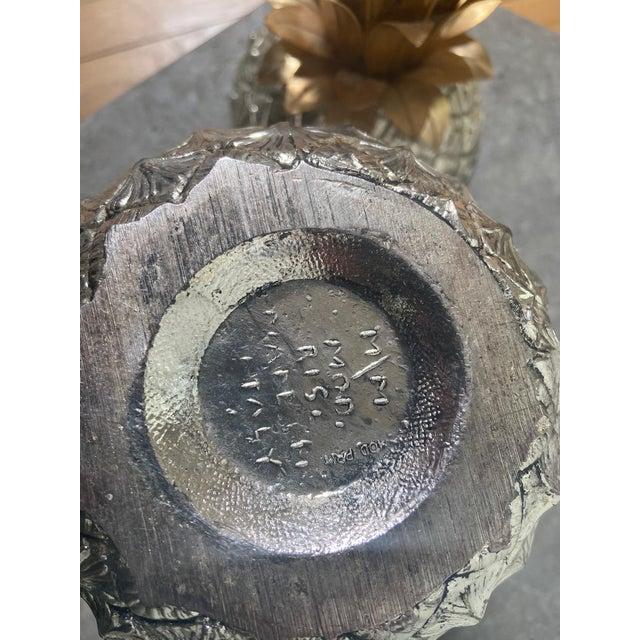 Mauro Manetti Vintage Italian Mauro Manetti Metal Clad Pineapple Ice Bucket For Sale - Image 4 of 5