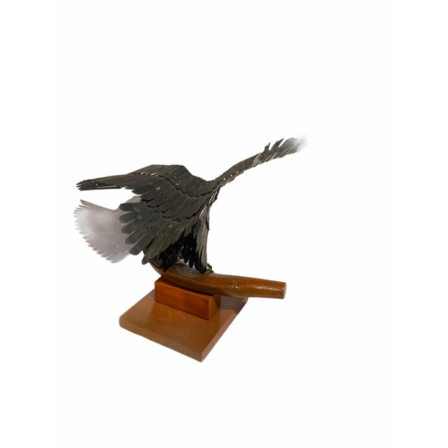 Vintage Artisan Mid-Century Welded Metal Sculpture Flying Eagle For Sale In San Francisco - Image 6 of 9