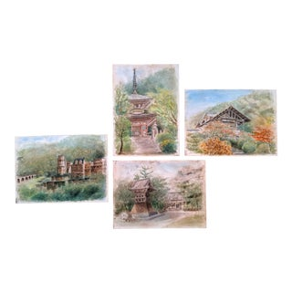 Collection of Japanese Architectural Original Watercolor Paintings, Set of 4 For Sale