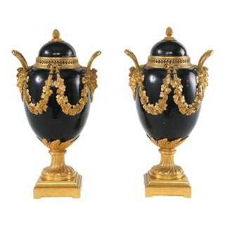 Late 19th Century Gilt Bronze Mounted Covered Decorative Urns - a Pair For Sale