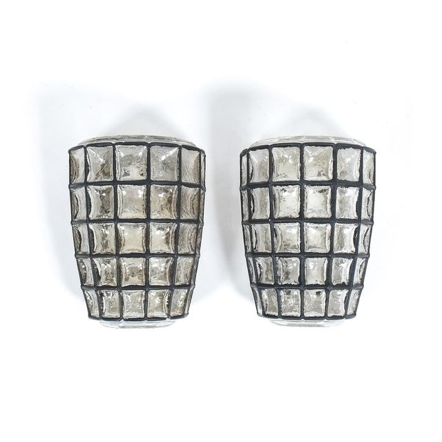 Iron and Glass Sconces Wall Lamps by Limburg, 1960 For Sale - Image 6 of 6