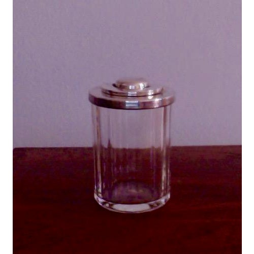 Vintage Danish Modern Crystal Candy Jar With Silver Lid - Image 5 of 5
