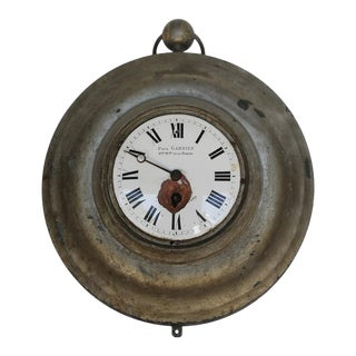 Antique French Zinc Clock, Paul Garnier, Hger Mcien de la Marine For Sale