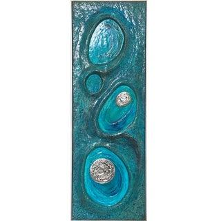 Psychedelic Turquoise Acrylic Resin Art Wall Sculpture Panel by Lorraine Stelzer For Sale
