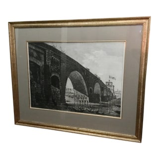 "Large 1822 Rossini Engraving ""Molle Bridge in Rome"" For Sale"