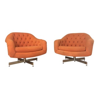 1970s Vintage Swivel Club Chairs- A Pair For Sale