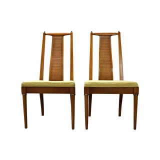 1960s Wicker-Back Chairs - A Pair For Sale