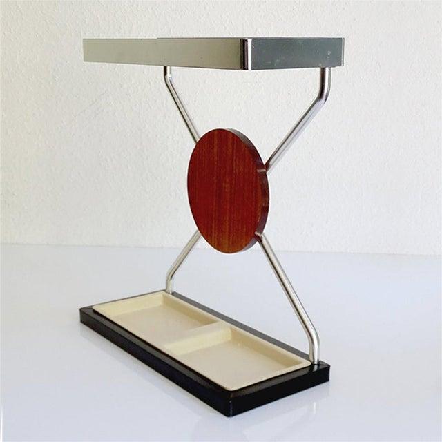 Verner Panton Vintage Danish Midcentury Umbrella Stand in Aluminum and Teak Wood 1960s in Modernist Panton Style For Sale - Image 4 of 10