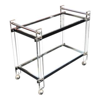 1970s Mid Century Modern Lucite Barcart For Sale