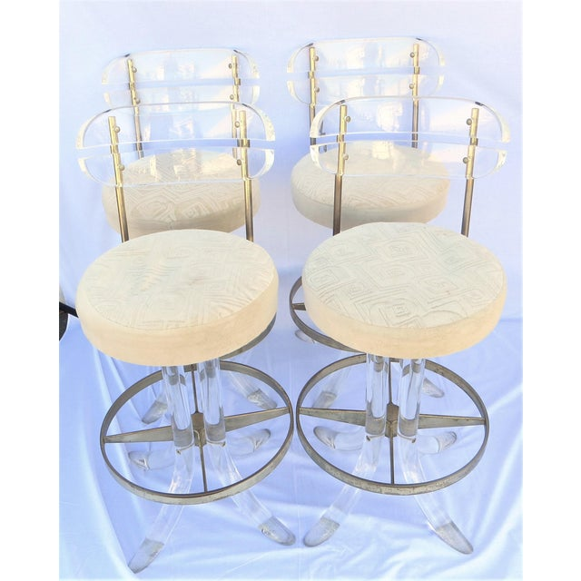 Vintage 1970's Hill Manufacturing Acrylic Bar Stools - Set of 4 For Sale - Image 13 of 13