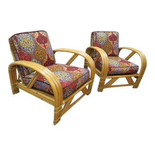 Vintage Mid Century Modern Bamboo Lounge Chairs- A Pair For Sale