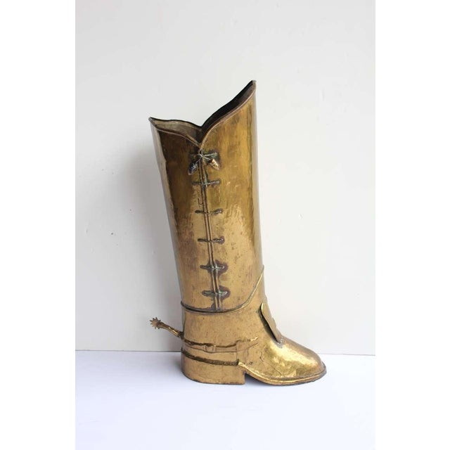 English Traditional 1930's Vintage English Brass Boot Umbrella Stand For Sale - Image 3 of 4
