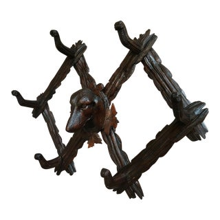Antique Carved Black Forest Dog Hound Hunt Hat Cap Coat Rack Folding Wall Shelf For Sale