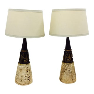 Mid-Century Modern Arts & Crafts Triangle Lamps - A Pair