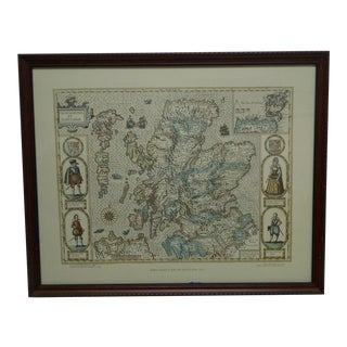 "1977 English ""John Speed's Map of Scotland - 1610"" Wood Framed Map For Sale"